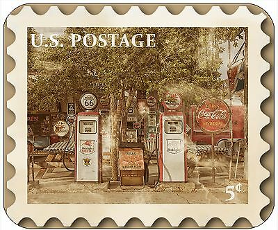 Mouse Pad - Thick Mousepad - Vintage Postage Stamp-Rt 66 Gas Pumps