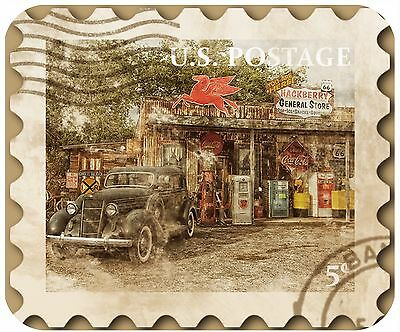 Mouse Pad - Thick Mousepad - Vintage Postage Stamp-Rt 66 Old Car