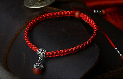 Braided Red Rope with Red Wood Bead Bracelet UK