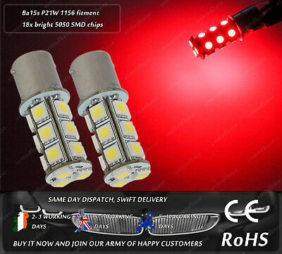 2x LED Ba15s P21W 1156 Strobe Red Flash Police Stop Bulbs Lamps Rear Tail Lights