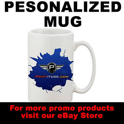 6 Personalized Mugs CUSTOMIZED with your Logo Artwork Design for marketing Promo