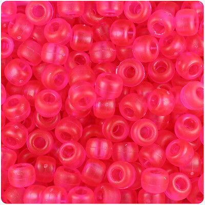 500 Carnation Pink Matte 9x6mm Barrel Pony Beads Made in the USA