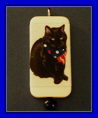 PATRIOTIC BLACK CAT - 4th OF JULY DOMINO PENDANT