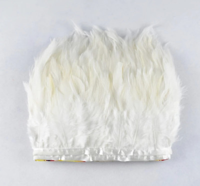 White Rooster Feather Fringe Ribbon Trim (price for 30cm) DIY Craft Clothing