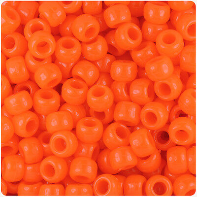 500 Tangelo Orange Neon 9x6mm Barrel Pony Beads Made in the USA by The Beadery