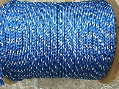 "1/4"" X 100' Sail,Halyard Line, Jibsheets, double braid rope l Blue/ w 2100 lb"