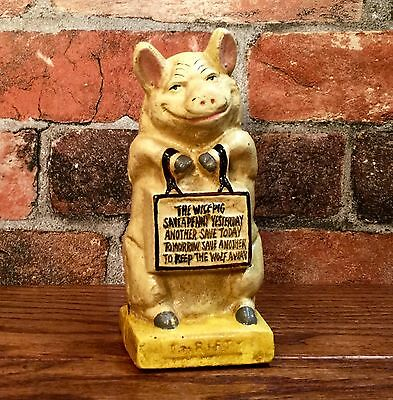 Cast Iron THRIFTY THE WISE PIG Vintage Penny Coin Bank