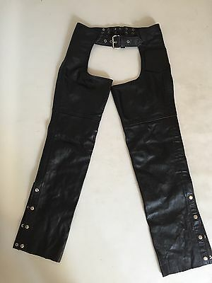 FMC Motorcycle Leather Chaps, used  in excellent cond. Adult XXXS RARE SIZE 3XS