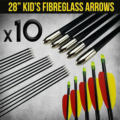 "10X 28"" Fibreglass Arrows For Compound Or Recurve Bow Target Archery New"