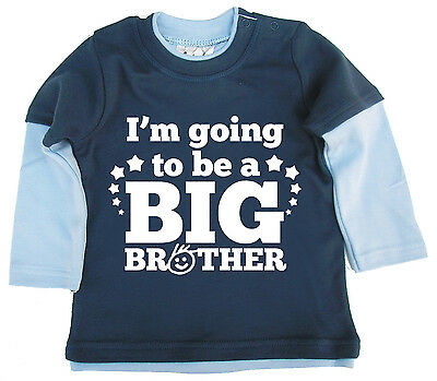 """Dirty Fingers Cute Baby Boy Skater Top """"I'm Going to be a Big Brother"""""""