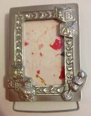 SOLID PEWTER MINI BABY PHOTO FRAME, VERY CUTE! Great Christening, Newborn Gift.