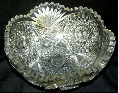 "Antique Cut Crystal Bowl, 8"" Dia. X 4""H Pre-Owned"