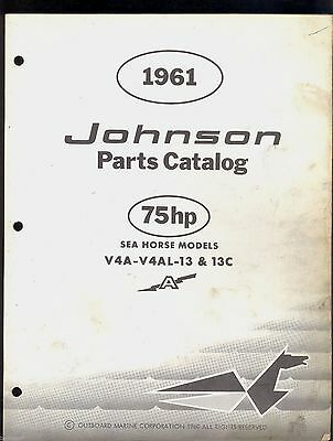 1961 Johnson 75Hp Outboard Motor  V42A-V4Al-13-13C Parts Manual / 378464