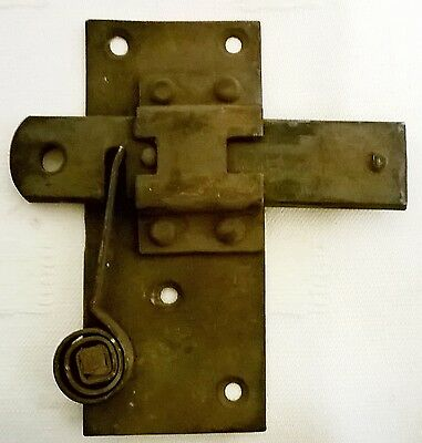 Antique 1820's Spring Loaded Door Latch & Plate with Sliding Lock