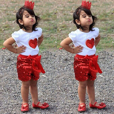 Sequins 2PCS Baby Kids Girls Cotton Tops Shirt+ Pants Outfits Set 2-11Y