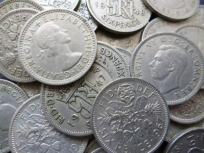 Sixpences pack of 25 sixpence coins George 6th and Elizabeth 2nd dated 1947-1967
