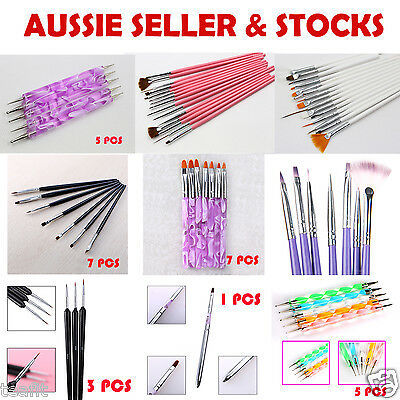 AU 15pcs Nail Art Polish Paint Drawing Brush Pen Set + 5pcs Dotting Design Tools