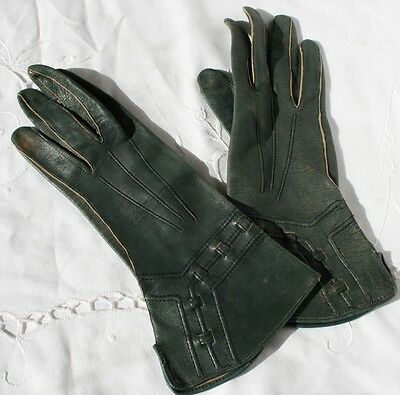 Vintage Leather Gloves Blue 6 1/4 Very Small Made in Czechoslovakia