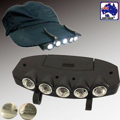 5 LED Clip Hat Cap Lamp Light Headlamp Camping Hiking With Batteries SFLAS3556