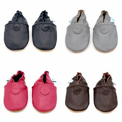 Dotty Fish Soft Leather Baby Shoes - Navy, Grey, Pink & Brown - 0-6mths - 3-4yrs