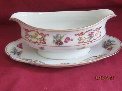 Royal Bayreuth Gravy Boat & Attached Underplate