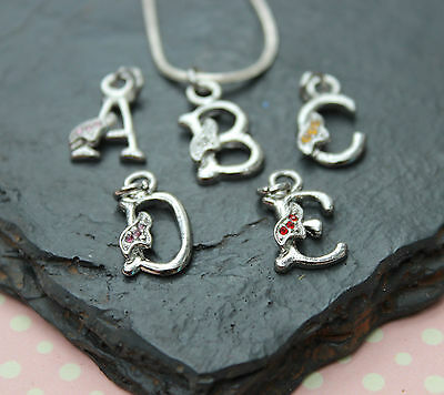 Letter Pendant with Initial & crystals - Silver plated chain (Girls or Ladies)