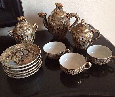 SATSUMA Antique Gold Japanese Tea Set - Immortals Style Hand Painted Very Old
