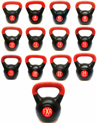 Kettlebells With Plastic Vinyl Gym Fitness Exercise Training Kettlebell 2-24Kg