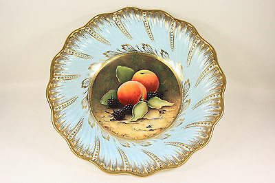 Vintage Coalport Footed Bowl Painted Fruit Signed Malcolm Harnett