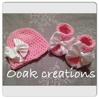 Baby Girl Crochet Gift Set Hat And Booties 3-6 Months