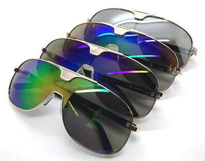 Wholesale lots 12 Pairs Unisex One-Piece Aviator Sunglasses With Mirrored Lens