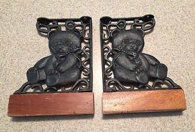 Old Pair of Cast Iron Metal Teddy Bear Rustic Wall Bracket Supports Shelf Mantel