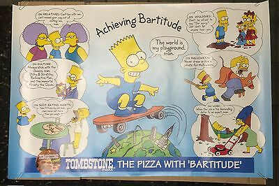 1994-1995 Tombstone Pizza Bart Simpson Achieving Bartitude Poster The Simpsons