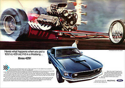 Ford Mustang 429 Retro Poster A3 Print From 60's Advert V8 429 Mustang
