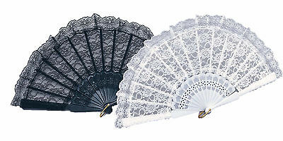 black white lace fan spanish flamenco victorian my fair lady burlesque