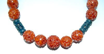 Antique Vintage Chinese Carved Butterscotch Bakelite Amber Puzzle Necklace
