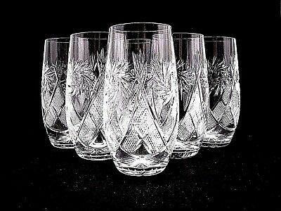 SET of 6 Russian European Cut Crystal Highball Drinking Glasses 10 oz, Vintage