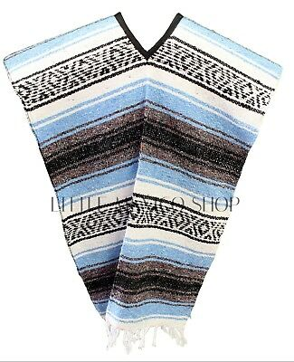Traditional Mexican Poncho Blanket Serape Gaban - LIGHT BLUE - ONE SIZE FITS ALL