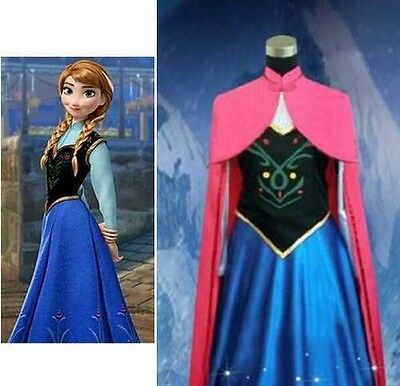 Adult Women's Anna Elsa Frozen Costume With Cape Cosplay Halloween Costume