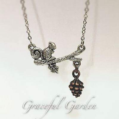 ST0017 Graceful Garden Squirrel Dangling Pinecone Bracelet/ Anklet/ Necklace