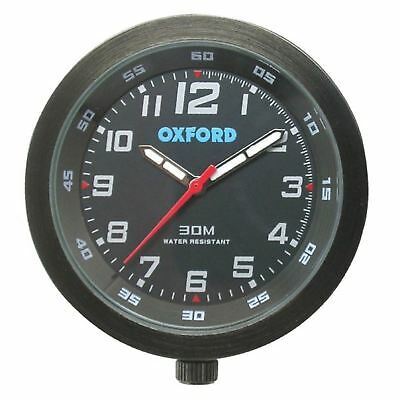 Oxford Essential Motorcycle Bike Clock Analogue ATV Water Resistant Black New