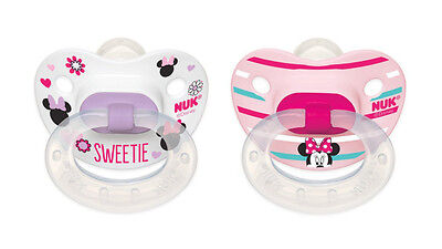 NUK Minnie Mouse 2 Pack Whimsical Baby Girl Dummies 6-18M Pacifier Dummy