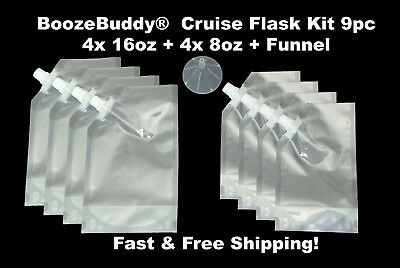Plastic Flask Cruise Kit - Runners Rum Alcohol Wine 8 Pack- 4x8oz 4x16oz Funnel