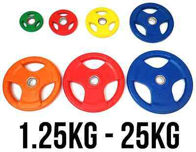"Tri Grip Olympic Weight Plates Discs Gym Barbell Fxr Sports Rubber 2"" -50Mm Hole"