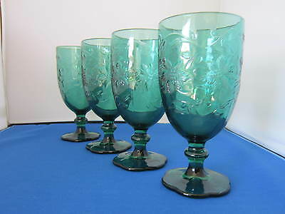 Princess House, Fantasia, 14 ounce Green Glass Goblets, Set of Four