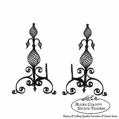 Quality Pair of Antique Arts & Crafts Spiral Twist Andirons