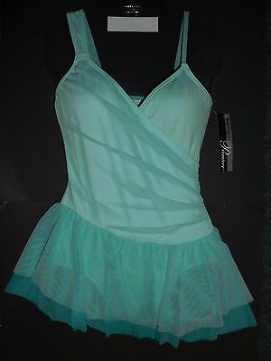 NWT  BODY WRAPPERS P731 Mock Wrap Skirted Leotard Ladies Lyrical Mint Green