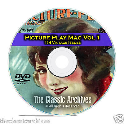 Picture Play Magazine, Vol 1, 114 Issues, Golden Age of Hollywood, DVD CD C17