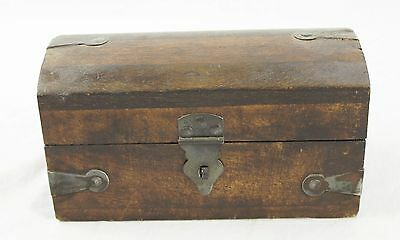 Antique Folk Art Solid Butcher Block Style Wood HumpBack Trinket Box Iron Straps