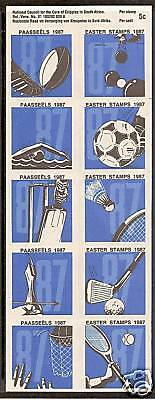 SOUTH AFRICA 1987 EASTER CHARITY SPORTS SHEET of 10 MNH